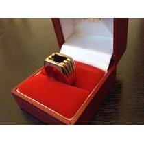 Anillos De Mujer Gold Filled 14k Y Esmalte Negro Onix Brilla