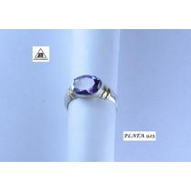 Anillo Piedra Violeta Plata 925 Detalles Oro Diseño Original
