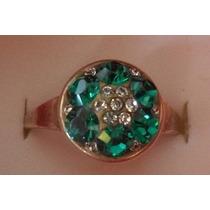 Anillo De Plata 925 Y Corconitas Circones Verde Y Cristal