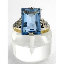 Bellisimo Anillo De Oro 18 Kt Platino 950 Topacio Y Diamante