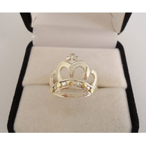 Anillo Corona Reina Plata Y Oro Hermoso Diseño Calado!!!