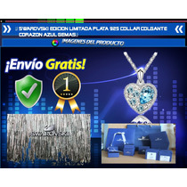 Swarovski Edicion Limitada Plata 925 Corazon Azul Gemas