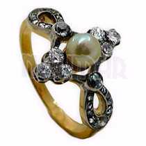 Anillo Oro 18 K Con Brillantes Y Perla De 4.2 Grs. Anbr19-lv