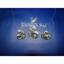 Swarovski Edicion Limitada Cisnes Oro 18k Collar Aros Crista