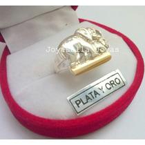 Anillo Elefantes En Plata Sobre Aplique De Oro!! Hermoso