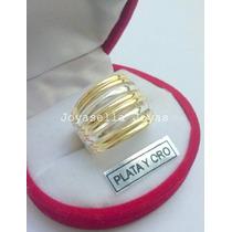 Anillo De Plata Y Oro Tipo Cinta Con Oro..hermoso Diseño