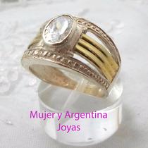 Anillo Ancho Plata Y Oro 18 Kts Y Piedra Cubics