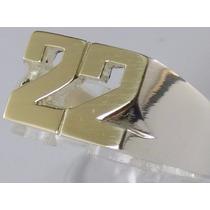 Anillo Sello Plata 925 Oro 18k Calado 2 Letras Números Garan