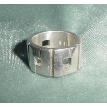 Anillo Unisex Plata 925 Made In Italy Geométrico Calado