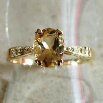 Exquisito Anillo De Oro Macizo 14k Con Engarce De Citrino