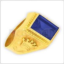 Anillo Sello C/coronas Oro 18 Ktes C/piedra - Se1315 Newmar