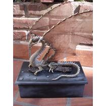 Caja De Dragon Artesanal De Madera Con Bisagra