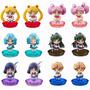 Set Completo Sailor Moon Chibi X 6 Figuras Con Base En Caja