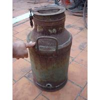 Antiguo Tarro Tacho Lechero De Chapa Picado Con Tapa