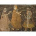 Antigua Pintura Sobre Tela Seda Indu Motivo Oriental Mujeres