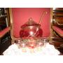 Antigua Ponchera De Cristal Veneciano Con 5 Copas Y Cucharon