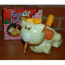 1970 Antiguo Juguete Gracioso Gato A Pilas En Caja Original