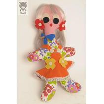 Muñeca Hippie Paño Tela Enterito Naranja Flores Antiguo