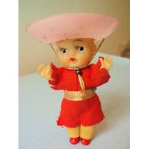 Muñeca Vaquera Antiguo Juguete Cowboy C/ Vestido Tela Dec 50