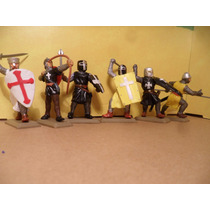 Soldados Templarios Cruzados Hachas Espadas Y Escudos X 6
