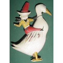 Cowboys Antiguo Muñeco Satira A Caballo Pato Plastico Duro