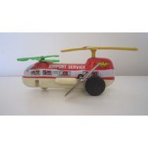 Simil Japones Helicoptero Airp Service Litografiado A Cuerda