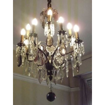 Imponente Araña Antigua Bronce Caireles Cristal-12 Luces