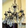 Hermosa Araña De Bronce Caireles Plaquetas Cristal 6 Luces