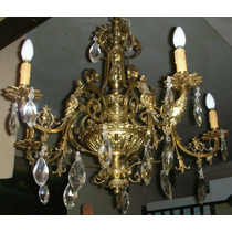 Imponente Araña De Bronce Francesa , 5 Luces Con Caireles