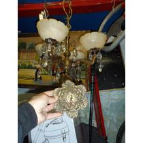 Araña Bronce Francesa Alabastros Caireles Almendras Floron