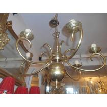 Antigua Araña De Bronce Holandesa 6 Luces Grande