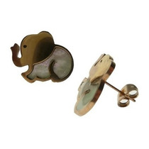 Aros Elefante Sentado Acero Y Nacar Con Fru Fru Ge8218r