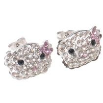 Aros Kitty Con Cúbics Moño Rosa Acero Quirúrgico F5729r