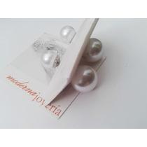 Aros Perla Sintetica Doble Acero Dior Listos Para Regalo