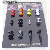 Blister 12u Piercing Falsos Expansores- Venta X Mayor- Menor