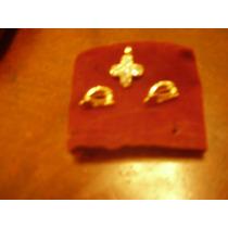 Conjunto De Cruz Y Aros Bañado En Oro