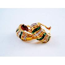 Aros De Oro Amarillo Con 30 Esmeraldas Y Brillantes