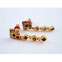 Aros De Oro Amarillo 12 Esmeralda Y 18 Brillantes