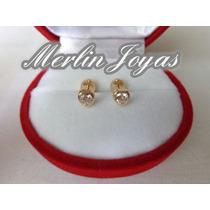 Aritos Abridores Oro 18k Piedra Corazon - M. J. -