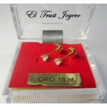 Aritos Abridores Oro 18k Piedra Engarzada Chica Etj Garantia