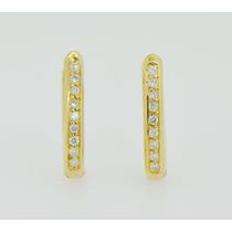 Aros De Oro Amarillo 18k Y Brillantes Dlisjoyeria Cod 020