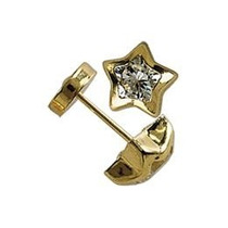 Aros Abridores Oro 18k Ch Estrella Con Cubic