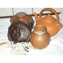 Lote De Vasijas Pava Mascara De Barro Arcilla