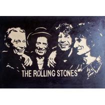 The Rolling Stones Cuadro De Madera Tallado