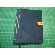 Cuaderno Artesanal Bitácora De Viaje Cuero Gamuzado 17x11