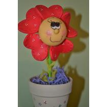 Flor En Masetita De Barro Porcelana Fria