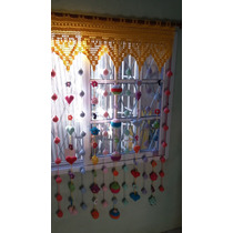 Cortina Tejida Al Crochet Con Apliques Varios