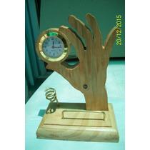 Reloj Base De Madera, Trabajo Artesanal Para Escritorio