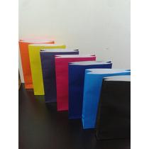 Bolsas De Papel Color Liso De 25x12 Con O Sin Manijax 20