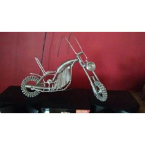 Moto Artesanal Chopper Decorativa C/movimiento